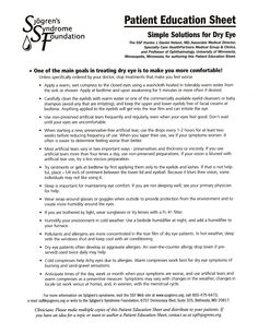 Reasonably Well: Sjogren's Syndrome Foundation Patient Education Sheet: Simple solutions for Dry Eye