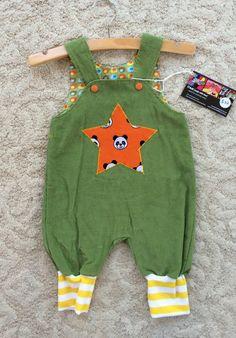 Handmade green corduroy overalls pandas star by NoNiMadewithlove