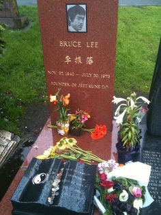 Bruce Lee's gravesite at Lake View Cemetery in Seattle, Washington. I would love to visit this one day. A great man taken to soon from this earth. Had so much more to give us, to teach us, so full of life. Till this day his teachings and quotes and skills are still being used taught and we are trying our best to keep his legend alive everyday forever.