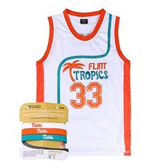 bbb88737e AFLGO Moon #33 Flint Tropics Basketball Jersey S-XXXL White, 90's Clothing  Throwback Will Smith Costume Athletic Apparel Clothing Stitched – Top Bonus  Combo ...
