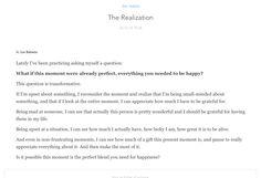http://zenhabits.net/realization/