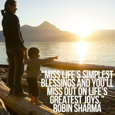 Miss life's simplest blessings and you'll miss out on life's greatest joys. Robin Sharma