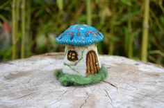 Needle Felted little mushroom house  by Harthicune by Harthicune, $33.00