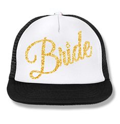 Perfect for the #Honeymoon and #Bachelorette Party! BRIDE Cursive Snapback Trucker Hat White with Gold Print. Click here to buy http://mrsbridalshop.com/collections/hats/products/bride-cursive-snapback-trucker-hat-white-with-gold-print