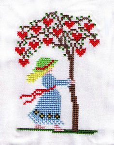 Crochet work framing picture for decor Easy Cross Stitch Patterns, Cross Stitch Needles, Cross Stitch Cards, Simple Cross Stitch, Modern Cross Stitch, Cross Stitch Flowers, Cross Stitch Designs, Cross Stitching, Cross Stitch Embroidery