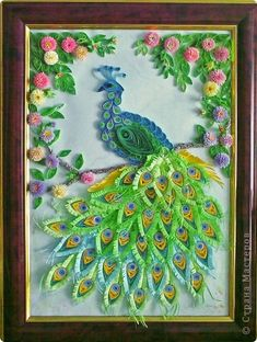 Picture, pictures, graphic Quilling: Peacock paper, glue, paper strips.  Photo 1