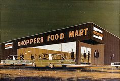 I am not sure what is funkiest-the square cars,the peoples' dimensions, or that swell architecture. In any case, a visual delight. Grocery Ads, Grocery Store, Store Ads, Retail Therapy, Vintage Ads, Travel Around, Mid Century, Architecture, Retro