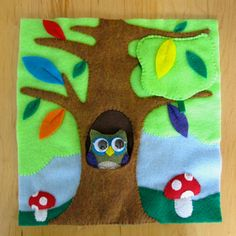 peek a boo with owl and bird. Forest Quiet Book Page