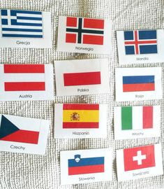 Karty Montessori do druku Flagi Europy Montessori, Playing Cards, Iceland, Europe, Playing Card Games, Game Cards, Playing Card