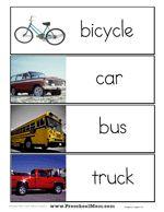Preschool Word Wall Printables | Preschool Printables Transportation