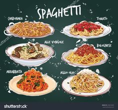 手绘矢量插图6常见的意大利菜在盘子里。-食品及饮料,其它-海洛创意(HelloRF)-Shutterstock中国独家合作伙伴-正版素材在线交易平台-站酷旗下品牌