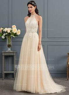 A-Line/Princess High Neck Sweep Train Tulle Wedding Dress With Ruffle Beading - JJ's House Tulle Wedding, Dream Wedding, Wedding Stuff, Summer Wedding Venues, Wedding Ideas, Hawiian Wedding, Prom Dresses, Formal Dresses, Wedding Dresses