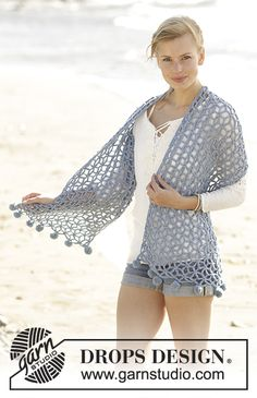 Crochet stole with star patterns in DROPS Big Merino. Free pattern by DROPS Design.