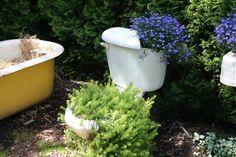 old bathroom stuff as planters
