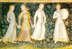 Medieval women playing and dancing.   The Church Militant and Triumphant (detail)    1365-1368  Fresco  Cappella Spagnuolo, Santa Maria Novella (Florence, Italy)