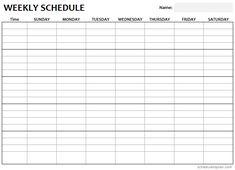 Weekly Schedule Printable Template - Customizable Weekly Planner Monthly Schedule Template, Day Planner Template, Weekly Schedule Planner, Schedule Printable, Day Schedule, Weekly Planner Printable, Printables, Time Sheet Printable, Block Scheduling
