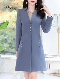 Women's Fashion Solid Color Long Sleeve Slim Coat Find latest women's clothing, dresses, tops, outerwear, and other fashion clothing and enjoy the worldwide shipping # Hijab Fashion, Fashion Dresses, Fashion Coat, Color Fashion, Coat Dress, Shirt Dress, Mode Mantel, Coats For Women, Clothes For Women