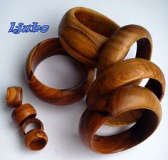 handmade olive wood rings and bangels