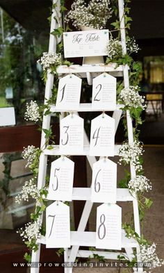 Table plan wedding seating white ladder with gypsophila and table plan tre &; PhotoLimo Table plan wedding seating white ladder with gypsophila and table plan tre &; Table Seating Chart, Wedding Table Seating, Ceremony Seating, Seating Chart For Wedding, Wedding Table Plans, Rustic Seating Charts, Ladder Table Plan, Wedding Centerpieces, Wedding Decorations