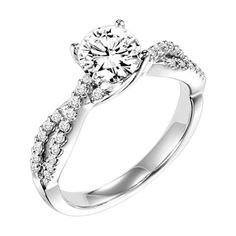 14K White Gold Twisted Split Shank Engagement Ring