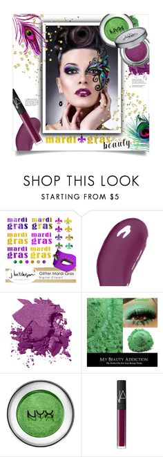 """""""Mardi Gras Beauty"""" by leslee-dawn ❤ liked on Polyvore featuring beauty, Masquerade, Christian Dior, Bobbi Brown Cosmetics, NARS Cosmetics and Urban Decay"""