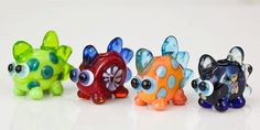 Orange Blue Dinosaur Lampwork Glass Bead Dinos for by maybeads, $10.00