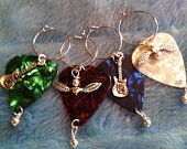Guitar Man Wine Glass Charms
