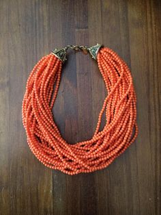 Vintage Kenneth Jay Lane Necklace Multistrand Coral Bead Necklace KJL Kenneth Lane Jewelry