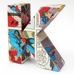 letter K made from vintage comic...