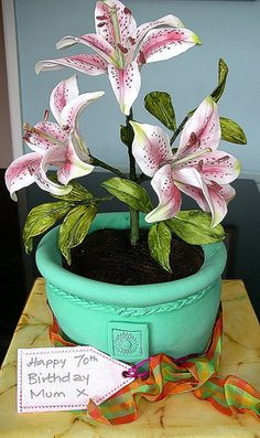 Potted lily CAKE by nice icing, via Flickr