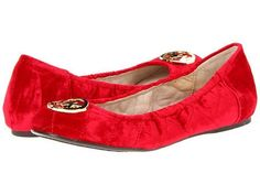 Michael Kors Fulton Classic Red Quilted Velour Mk Logo Sexy Ballerina Flats Ca