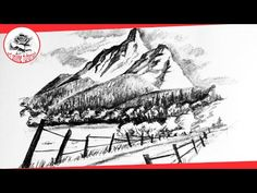 (160) How to Draw an Easy Mountain Scenery with Pencil | Pencil Drawing Techniques - YouTube
