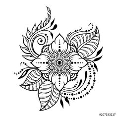 Mehndi flower pattern for Henna drawing and tattoo. Decoration in ethnic oriental, Indian style. Henna Doodle, Henna Art, Doodle Art, Henna Tattoo Designs, Flower Tattoo Designs, Henna Tattoos, Zentangle Patterns, Embroidery Patterns, Henna Kunst