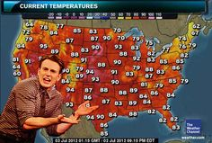 Captain America is reporting the weather? That explains the heat wave!