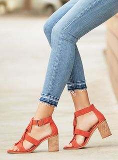 Soft suede fringe sandals with comfortable stacked heels