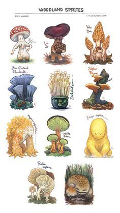 Woodland Sprites Print by emla myconid mushroom fairies pixies forest monster beast creature animal | Create your own roleplaying game material w/ RPG Bard: www.rpgbard.com | Writing inspiration for Dungeons and Dragons DND D&D Pathfinder PFRPG Warhammer 40k Star Wars Shadowrun Call of Cthulhu Lord of the Rings LoTR + d20 fantasy science fiction scifi horror design | Not Trusty Sword art: click artwork for source