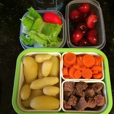 #Teuko lunchbox: crispy salad, steamed carrots and tiny potatoes, steak, round cheese, cherries, water. By Jessica, www.teuko.com