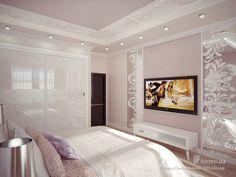 Сонная нежность, Елена Пономаренко / Vitta-Group, Спальня, Дизайн интерьеров Formo.ua Tv Wall Decor, Stylish Bedroom, Model Homes, Living Room Decor, Mirror, Furniture, Houses, Design, Home Decor