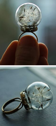 Real Dandelion Glass Orb Ring - Make A Wish! <3 L.O.V.E.