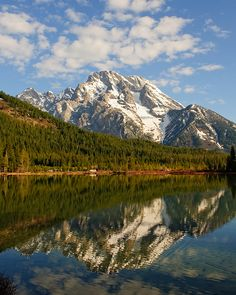 Mt. Moran reflections on String Lake, Grand Teton National Park, Wyoming.