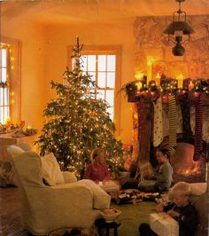Christmas Morning - warm & inviting Living room...love the Christmas tree & the beautiful hand knit Stockings & fireplace mantel decor.