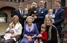 The Dutch royal family -   Seated, from left: Princess Maxima holds Princess Alexia, Queen Beatrix, Princess Laurentien holds Countess Eloise. Back row, from left: Prince Friso, Princess Mabel holds Countess Luana, Crown Prince Willem-Alexander holds Princess Catharina-Amalia and Prince Constantijn with Count Claus Casimir
