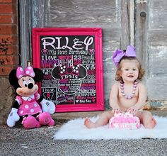 ADORABLE Minnie Mouse first birthday chalkboard sign. Perfect for minnie themed birthday party or photoshoot