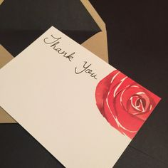 Modern Rose Thank You Cards {Set of 10 - 4x6} by loveyoumoreUS on Etsy https://www.etsy.com/listing/236342091/modern-rose-thank-you-cards-set-of-10