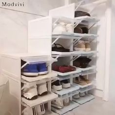 Drawer Type Shoe Box Our shoe storage boxes have drop front doors so you can easily access your shoe