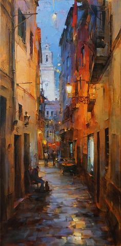 Morning In The Old Town By Dmitri Danish Oil Painting art artphotography photography artdeco City Painting, Oil Painting Abstract, Watercolor Paintings, Painting Art, Art Oil Paintings, Watercolor City, Painting Trees, Impressionist Paintings, Impressionism Art