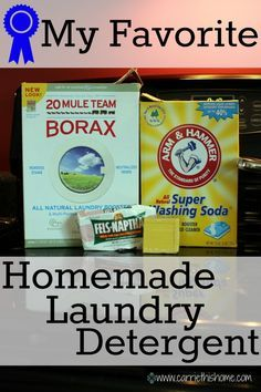 Homemade Laundry Detergent.  This time I used 2 bars of Dr. Bronner's Castile Bar Soap (grated) + 2 cups Borax + 2 Cups A Super Washing Soda. 1-1/2 Tbsp of this mixture plus 1/2 Tbsp liquid Castile soap in the soap dispenser, and 1/2 cup of white vinegar in the fabric softener cup in my HE machine, and we're good to go. Clothes are super fresh!