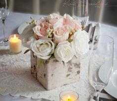 Pieza central de boda - Blush rústico y pieza central de boda de Marfil rosa