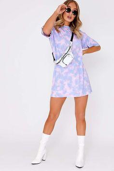 Faythe Lilac Tie Dye Oversized T Shirt Dress Sport Street Style, Diy Tie Dye Shirts, Oversized T Shirt Dress, How To Tie Dye, Tie Dye Colors, Tie Dye Outfits, Tie Dye Designs, Tie Dye Dress, Chic Outfits