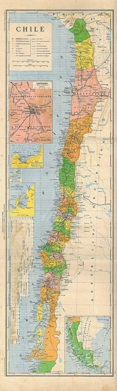 This  is a beautiful old map of Chile.  Its colors are bright  and it would be  perfect to hang on a narrow wall.     Inset maps of:  Santiago and environs, Valparaiso Bay, Juan Fernandez Island, Talcahuano Bay and a chart comparing the heights of the main mountains in Chile.       This antique map was part of  a geographic atlas published in 1905 by the widow of Charles Bouret in Paris, France.    Text in Spanish.   This is a spectacular map.  It would make a great gift for a Chilean ..